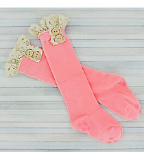 One Pair of Toddlers Bright Pink Non-Slip Knee-High Lace Socks #IW0051-P