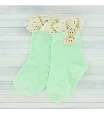One Pair of Toddlers Mint Non-Slip Ankle Lace Socks #IW0052-E