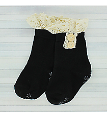 One Pair of Toddlers Black Non-Slip Ankle Lace Socks #IW0052-J