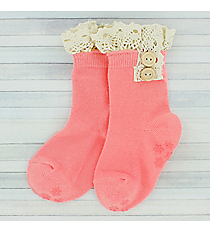 One Pair of Toddlers Bright Pink Non-Slip Ankle Lace Socks #IW0052-P