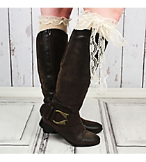 One Pair of Natural Over-The-Knee Long Lace Socks #IW0055-N