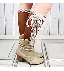 One Pair of Brown Knee-High Long Lace Socks #IW0056-B