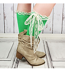 One Pair of Green Knee-High Long Lace Socks #IW0056-E2