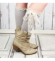 One Pair of Sage Gray Knee-High Long Lace Socks #IW0056-GR