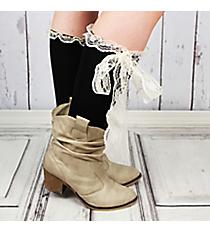 One Pair of Black Knee-High Long Lace Socks #IW0056-J