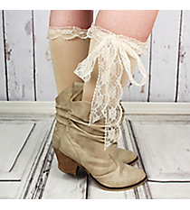 One Pair of Natural Knee-High Long Lace Socks #IW0056-N