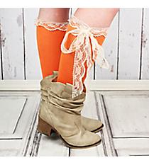 One Pair of Orange Knee-High Long Lace Socks #IW0056-O