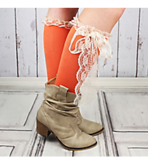 One Pair of Coral Knee-High Long Lace Socks #IW0056-P