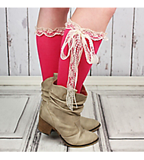 One Pair of Fuchsia Knee-High Long Lace Socks #IW0056-P2
