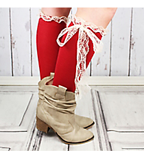 One Pair of Red Knee-High Long Lace Socks #IW0056-R