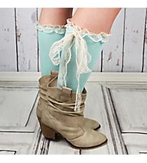 One Pair of Light Aqua Knee-High Long Lace Socks #IW0056-TQ