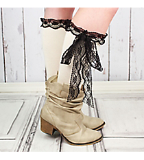 One Pair of Ivory Knee-High Long Lace Socks #IW0056-W
