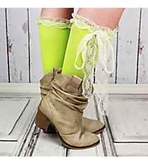 One Pair of Lime Knee-High Long Lace Socks #IW0056-Y