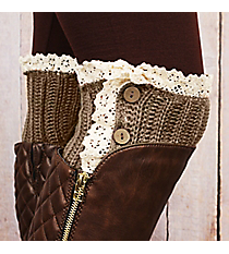 One Pair of Button Accented Brown Crochet Boot Cuffs #IW0082-B