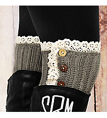 One Pair of Button Accented Sage Gray Crochet Boot Cuffs #IW0082-GR