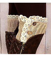 One Pair of Button Accented Natural Crochet Boot Cuffs #IW0082-N