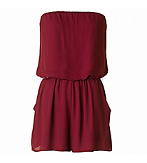 In The Pocket Romper, Burgundy #J14035-ST86-RK *Choose Your Size
