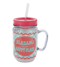 """Alabama is My Happy Place"" Mason Jar Tumbler with Straw #JAR-AL"