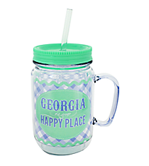 """Georgia is My Happy Place"" Mason Jar Tumbler with Straw #JAR-GA"