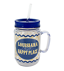 """Louisiana is My Happy Place"" Mason Jar Tumbler with Straw #JAR-LA"