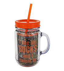 "Mossy Oak® and Orange Trim ""I Like Big Bucks"" Mason Jar Tumbler with Straw #JAR-MOO-BUCK"