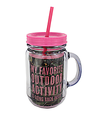 "Mossy Oak® and Pink Trim ""My Favorite Outdoor Activity"" Mason Jar Tumbler with Straw #JAR-MOP-FAV"