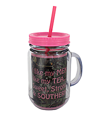 "Mossy Oak® and Pink Trim ""I Like My Men Like My Tea"" Mason Jar Tumbler with Straw #JAR-MOP-TEA"