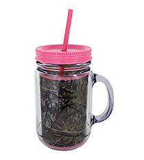 Mossy Oak® and Pink Trim Mason Jar Tumbler with Straw #JAR-MOP