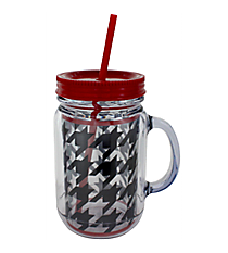 Houndstooth with Red Trim Mason Jar Tumbler with Straw #JAR-HT