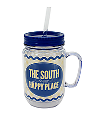 """The South is My Happy Place"" Mason Jar Tumbler with Straw #JAR-SOUTH"