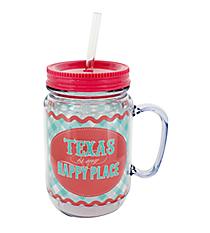 """Texas is My Happy Place"" Mason Jar Tumbler with Straw #JAR-TX"