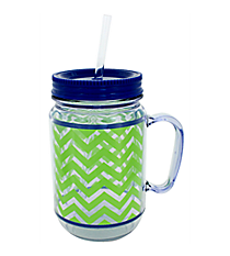 Lime and Clear Chevron with Navy Trim Mason Jar Tumbler with Straw #JAR-LMNV