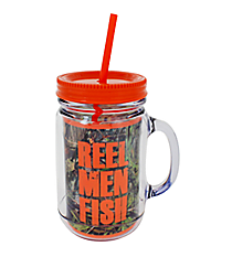 "Mossy Oak and Orange Trim ""Reel Men Fish"" Mason Jar Tumbler with Straw #JAR-MOO-FISH"