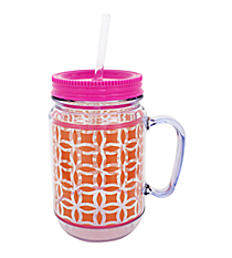 Orange and Clear Interlocking Circles with Pink Trim Mason Jar Tumbler with Straw #JAR-ORPK