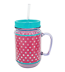 Pink and Clear Polka Dots with Turquoise Trim Mason Jar Tumbler with Straw #JAR-PKTQ