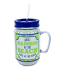"""What Happens at the Beach"" Lime and Navy Mason Jar Tumbler with Straw #JAR-STAY"