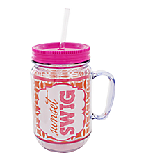 """Sunset Swig"" Orange and Pink Mason Jar Tumbler with Straw #JAR-SWIG"