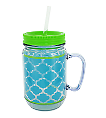 Turquoise and Clear Geometric Print with Lime Trim Mason Jar Tumbler with Straw #JAR-TQLM