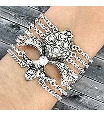 Jeweled Silvertone Fleur de Lis Multi-Chain Bracelet #JB1895-ASCR