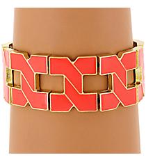 Coral and Gold Link Stretch Bracelet #JB4307-GCO