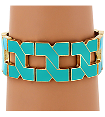 Turquoise and Gold Link Stretch Bracelet #JB4307-GTQ