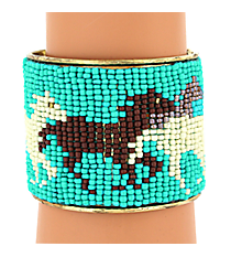 Turquoise and Ivory Horse Seed Bead Cuff Bracelet #JB4410-TQIV
