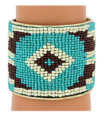 Southwestern Seed Bead Cuff Bracelet #JB4451-TQBR