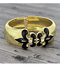 Black Fleur De Lis Goldtone Hinge Bracelet #JB4474-GBK