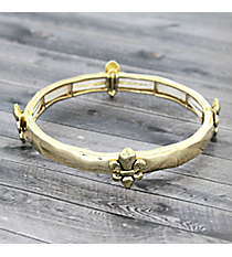 Goldtone Fleur De Lis Stretch Bracelet #JJB4668-AG