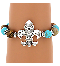 Beaded Turquoise and Brown Fleur de Lis Bracelet #JB4820-ASTQBR