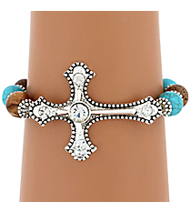 Crystal Accented Silvertone Cross Turquoise & Brown Beaded Bracelet #JB4823-ASTBCR