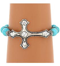 Crystal Accented Silvertone Cross Turquoise Beaded Bracelet #JB4823-ASTQCR