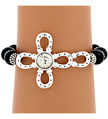 Crystal Accented Horseshoe Cross Beaded Bracelet #JB4824-ASJTCR