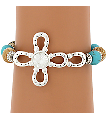 Crystal Accented Horseshoe Cross Beaded Bracelet #JB4824-ASTBCR